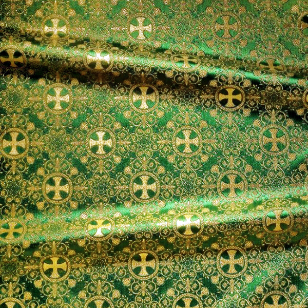 Brocade (Greek Cross) for vestment green