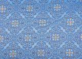 Парча «Крест греческий» для облачения голубая