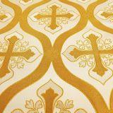 Ткань церковная белая с золотом «Никосия»