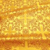 Парча желтая церковная «Крест Воскресение»