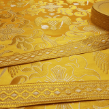 Ткань церковная для облачений богослужебных желтая «Византийский орел»