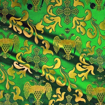 Парча «Византийский орел» зеленая