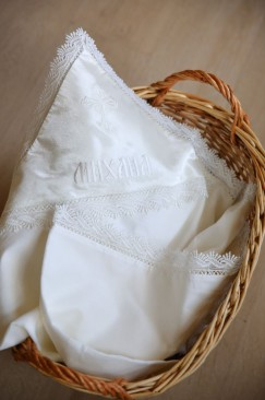 Baptism blanket with embroidered name made from church fabric