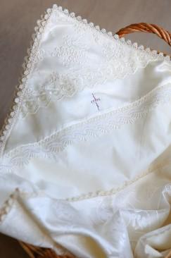 Baptism blanket (Primrose) with a cross made of Swarovski gemstones