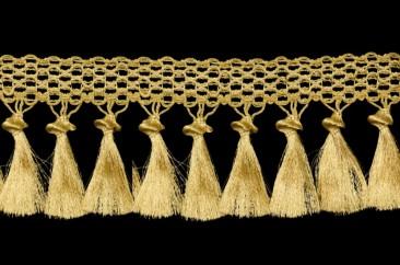 Бахрома «Кисти на тесьме» ширина 12,5 см в золоте