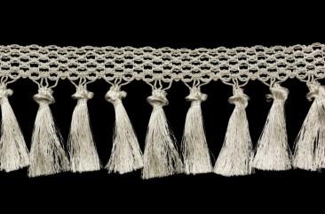 Fringe (Tassel on lace) width 12.5 cm silver
