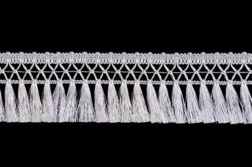 Fringe (Tassel on lace) width 8 cm silver