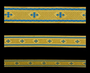 Galloon (Bethlehem Cross) skyblue with gold