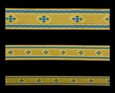 ☦️GALLOON (BETHLEHEM CROSS) SKYBLUE WITH GOLD •  buy   for sale >>> ORTHODOX