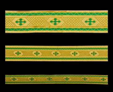 Galloon (Bethlehem Cross) green with gold