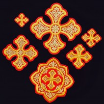 Embroidered Set of Crosses for Bishop Vestment (Ostrog)