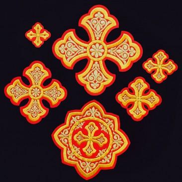 Embroidered Set of Crosses for Bishop Vestment (Ostrog)
