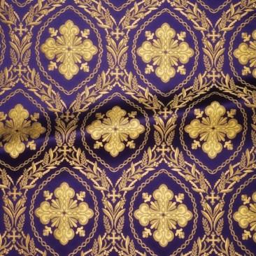 Парча фиолетовая «Ажурный крест»