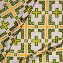 Парча церковная зеленая «Латинский крест»