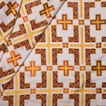 Парча белая с бордовым «Латинский крест»