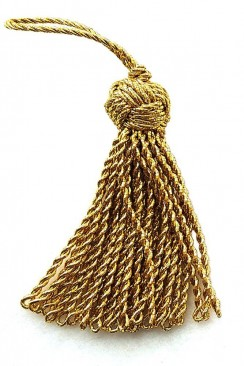 Tassel with large knot lurex 7 cm golden