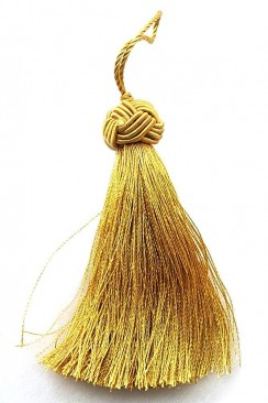 Tassel with large knot 8 cm gold