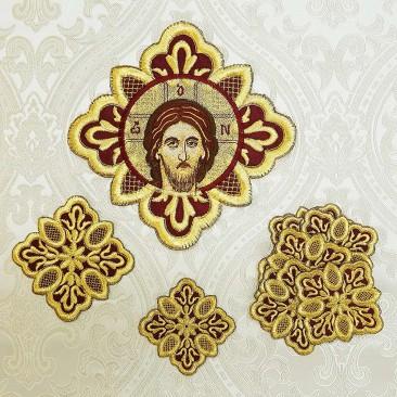 Комплект вишитих хрестів для грецького облачення бордового