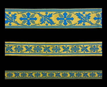 ☦️GALLOON (VINE) SKYBLUE WITH GOLD •  buy | for sale >>> ORTHODOX