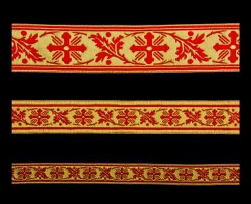 Галун «Виноградная лоза» красный с золотом