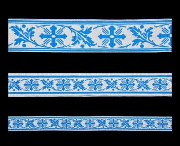 Галун «Виноградная лоза» голубой с серебром