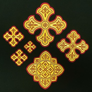 Set of Embroidered Crosses for Vestments (Lavra)