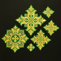 Set of Embroidered Crosses for Vestment (Tulip)